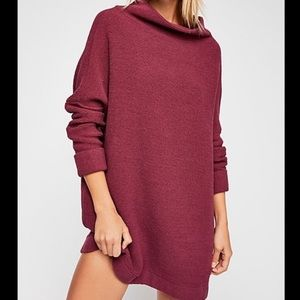 Free People Ottoman Slouchy Tunic in burgundy.